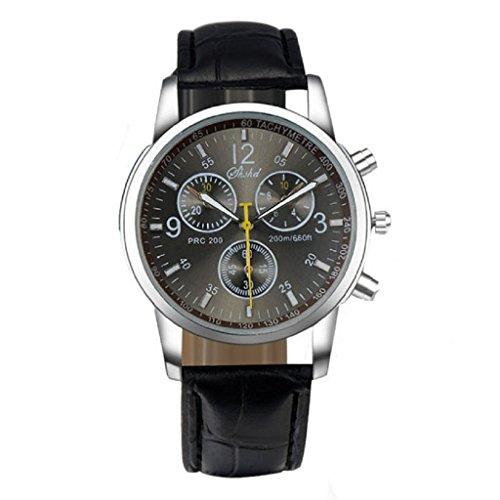 FEITONG Nuevo Lujo Moda Cuero de imitación Reloj analógico para Hombre Relojes (Negro)
