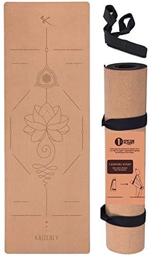 KAIZENLY Pro Yogamatte Cork - Hervorragender Grip, Rutschfest - Yoga Matte aus Kork & TPE mit Tragegurt - Korkmatte für Yoga, Pilates & Fitness - Yoga Mat (183 x 61 x 0,5 cm) (Pro Una)