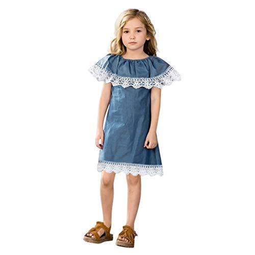 Moneycom Babykleid, Mädchen, ärmellos, Spitze, Rüschen, Jeanskleid, Kleid, Junp, Kleid, Geburtstagskleid, Tüll, schick, für Hochzeit, Blau Gr. 18-24 Monate, blau