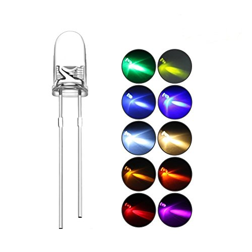 DiCUNO 200pcs 3mm LED Assorted Light Emitting Diodes Diffused 2pin Round UV White Red Yellow Green Blue Warm White Pink Orange Chartreuse (10 Colors x 20pcs) Kit Box