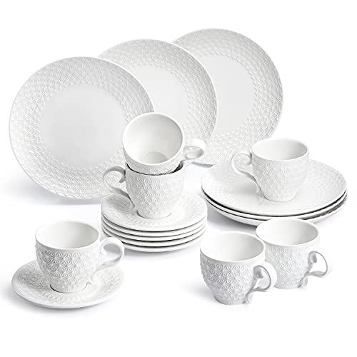 Sunting Kaffeeservice für 6 Personen. Modern Weiß Kaffeetassen Set mit Untertassen und Kuchenteller. Neues Bone China Porzellan Geschirrset Weiß Rund 18 tlg. Schneeflocke Geprägte Kaffeegeschirr Set