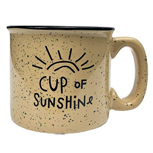 Cup Of Sunshine Cute Ceramic Campfire Coffee Mug - Campfire Gift Mug For Happy Camper - Outdoor Backpacking Mountain Camper Mugs Lovers - Cool Gifts for Friends, Moms, Christmas And Holiday Gift Cup