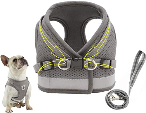 Dog Harness Step-in Dog Body Collar Soft Mesh Reflective Vest Harness Adjustable Straps for Puppy Cat Outdoor Grey M