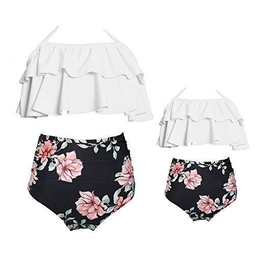 2Pcs Baby Girl Swimsuit High Waisted Bathing Suit Halter Neck Swimwear Women Bikini Sets for Family (White Black, Girl 5-6 T)