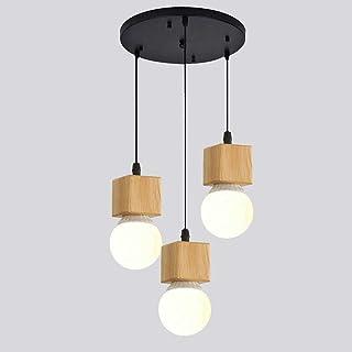 Mengjay E27 Lámpara Colgante de Industrial Vintage Pantalla de Madera Decoración Colgante Iluminación de Techo Moderna Lámparas de Araña Pequeña para Habitacion Restaurante Cocina