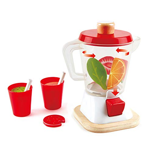 Hape Smoothie Blender | Multicolor Kitchen Smoothie Machine Play Set Complete with Cups & Straws, 9.44 Inch