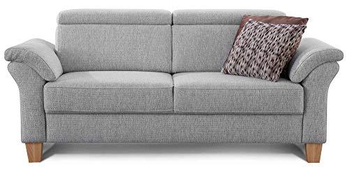 Cavadore 3-Sitzer Sofa Ammerland / Couch mit Federkern im Landhausstil / Inkl. verstellbaren Kopfstützen / 186 x 84 x 93 / Strukturstoff hellgrau