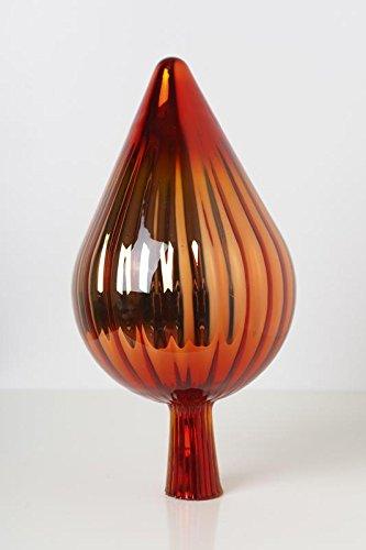 Rosenkugel aus Glas für den Garten – perfekte handgemachte Garten-Dekoration für Ihr Blumenbeetin vielen Farben, Formen und Größen, Hoche 33cm und Durchschnittlich 17cm, Feuer Spitze