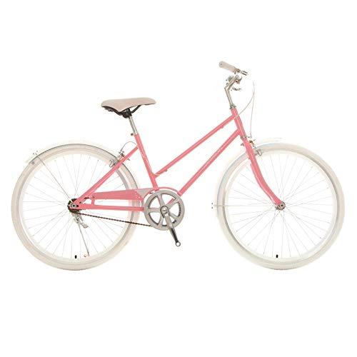 Bicicleta, Bicicleta de Moda de una Sola Velocidad para Viajes Cotidianos, Bicicleta de Ocio de Ciudad de 24 Pulgadas, Asiento Ajustable, para Trabajadores de Oficina/Estudiantes/A / 15