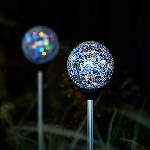 Lights4fun 2er Set LED Solarleuchten bunt Solar Glaskugeln Gartenleuchten