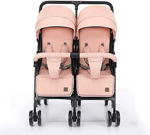 Landaus Double bébé Poussette légère Double Chariot Peut Sit and Lie Down Pliant Suspension Transport Fournitures pour bébé ( Color : Pink )