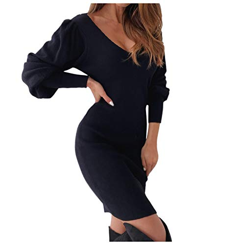 GOUWANdamen Schulterfreies Kleid Spitzenkleid,Tief V-Ausschnitt Figurbetontes Kleid Tunika Kleid,Schlauch Kleider Langärmeliges Kleid Party Kleider