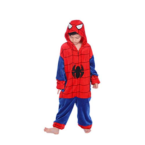 Spiderman Enfant Pyjama Polaire Nuit All in One Piece Pajama Lovely Home Wear Cartoon Vêtements Zipper Nightgown Grimper, kids/135~145cm