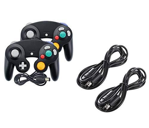 DARLINGTON & Sohns 2 Stück Schwarze Controller + Verlängerungskabel für Nintendo Game Cube Controller Schwarz GC Verlängerung Extansion Nintendo Wii Cable