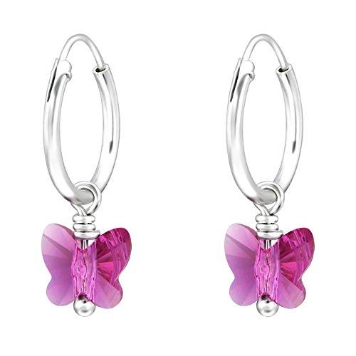 SL-Silver Orecchini a cerchio in argento Sterling 925, con pendente a forma di farfalla in cristallo, in confezione regalo e argento, colore: fucsia, cod. SL-kinderkristall92