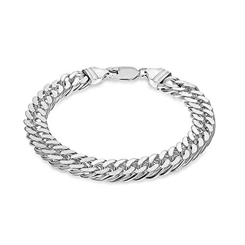Tuscany Silver Men's Sterling Silver 10mm Diamond Cut Double Curb Bracelet of 20cm/8'