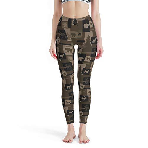 Dofeely dames rustieke houten beerelchedruk yoga broek lichte hoge taille sport leggings lang comfort stretch streetwear plus maat
