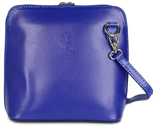Belli ital. Ledertasche Damen Umhängetasche Handtasche Schultertasche - 17x16,5x8,5 cm (B x H x T) (Royalblau)
