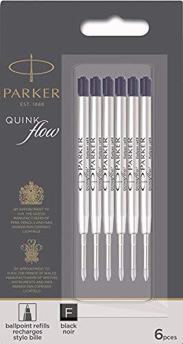Parker QuinkFlow Ink Refill for Ballpoint Pens, Fine Point, Black Pack of 6 Refills (1782467)