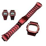 【ジーショック DW-5600 GW-M5610 G-5600 G-5000用】MY MODEL24 CASIO G-shock腕時計 社外互換品 316L ステンレス ケースベルトセット レッド (5610)