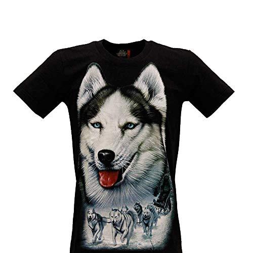 Rock Eagle shirt met korte mouwen van katoen met opdruk Siberian Husky (4338) Size S M L XL