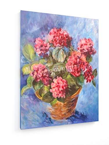 weewado Katarzyna Biaå'asiewicz - Pintura al óleo Hortensia Rosa sobre un Fondo Azul 30x40 cm...