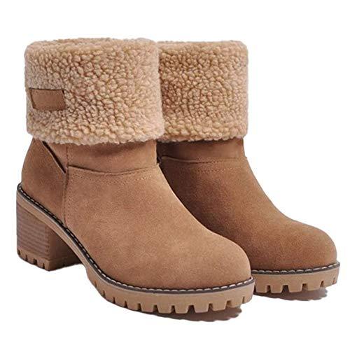 AFANG Botas Mujer Otoño Invierno, Tacon Bajo Zapatos Largas Botas Forrado Antideslizante Cómodo, Antideslizante Ponibles Gruesos Sexys Botines Tacón Nieve Snow Boots,B,42