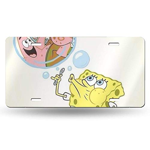 Suzanne Betty Aluminum License Plates - Spongebob and Squidward License Plate Tag Car Accessories 12 X 6 Inches