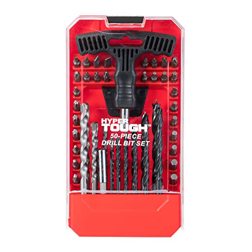 Hyper Tough 50 Piece Drill and Driver Bit Set with Bubble Level in Red Carrying Case