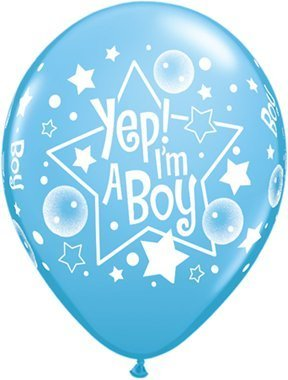 Pioneer Balloon Company 50 Count Yep I'm a Boy Latex Balloon, 11, Blue by Pioneer Balloon Company
