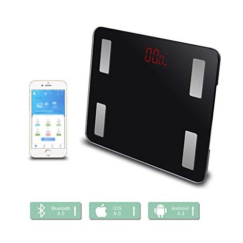 ZXL Analyseur de graisse corporelle, pesant Bmi électronique Bluetooth Smart Digital Balance de graisse corporelle, iOS et Android App pour poids corporel, eau grasse, muscle, bmi