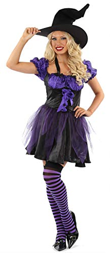 Gimbles® New Ladies 3 Piece Wicked Witch Costume Halloween Fancy Dress Outfit with Hat