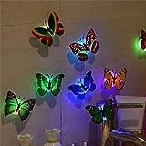 LED 3D Schmetterlings-Wand-Aufkleber Nachtlicht-Lampe Glühende Wand-Abziehbild-Aufkleber-Haus-Dekoration Zuhause-Party-Schreibtisch-Wand-Dekor