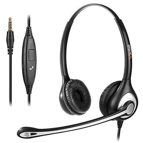 Wantek Binaural 3,5 mm Kopfhörer Handy mit Noise Cancelling-Mikrofon