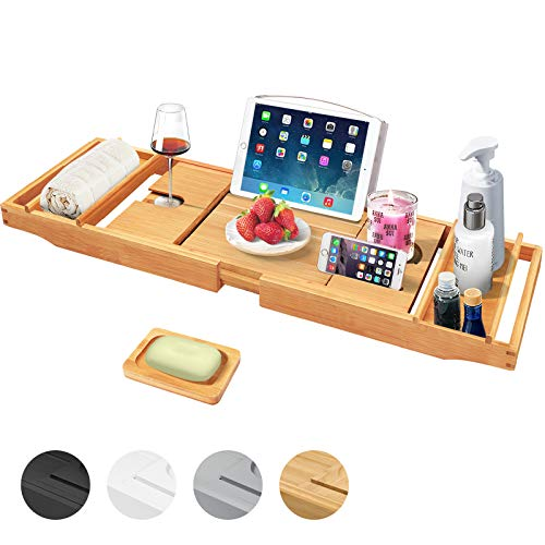 Artmalle Bathtub Caddy Tray for Luxury Bath,Expandable Bathroom Organizer with Wine and Book Holder,Free Soap Holder