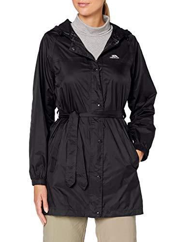 Trespass Compac Mac, Black, XS, Wasserdichte Kompakt Zusammenfaltbare Jacke für Damen, X-Small, Schwarz