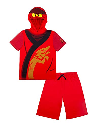 LEGO Ninjago Boys Ninjago Set with Red Shorts and Matching Kai Costume Hooded T-Shirt, 3T