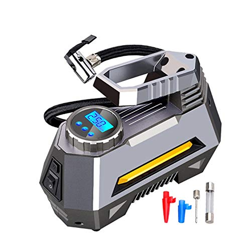 TWDYC Inflador de neumáticos con compresor de Aire portátil - Bomba de neumáticos de Coche con manómetro Digital (150 PSI 12V DC) Linterna de Emergencia Brillante
