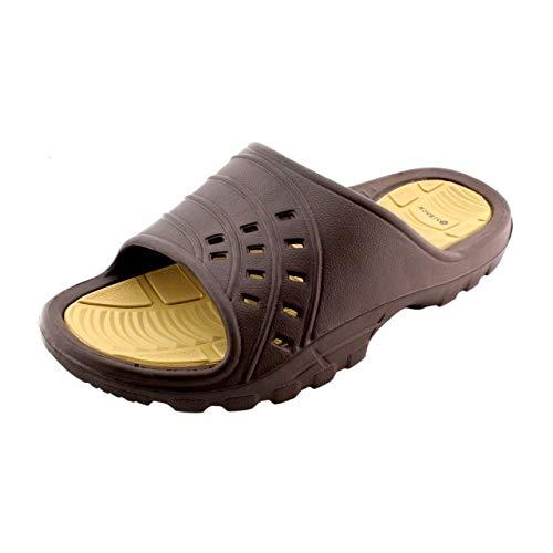 Kaiback Men's Simple Slide Sport Shower Sandal (10/11) Brown
