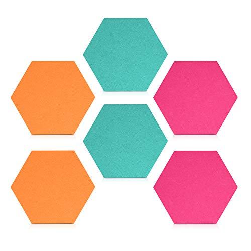 Navaris Filz Memoboards Set sechseckig - 6x Filz Pinnwand 15x17,7x1,5cm mit Stecknadeln und Klebeband - Filzboard für Küche und Büro - Türkis Pink Orange