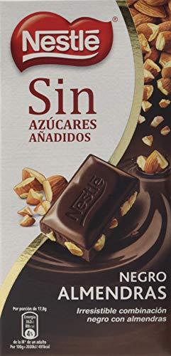 Nestlé sin azúcares añadidos tableta chocolate negro con almendras - Pack de 14 x 125g