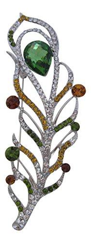 Broche Boutique bañado en plata grande Multi Coloured pluma broche regalo para el día de la madre