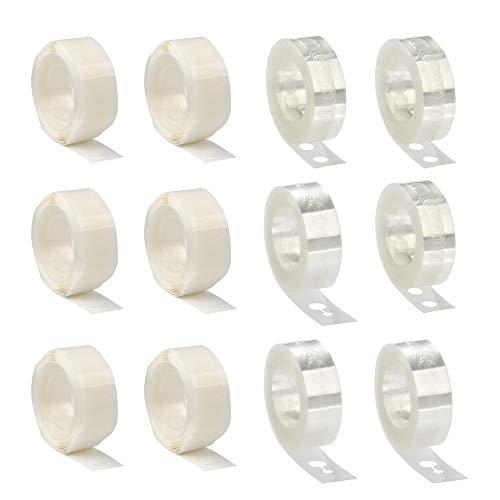 BUYGOO 16 rollos de cinta decorativa de guirnalda de arco de globos para decoraciones de globos de fiesta de bodas - 6 rollos de cinta de arco de globos de 5 m 6 rollos de punto de pegamento