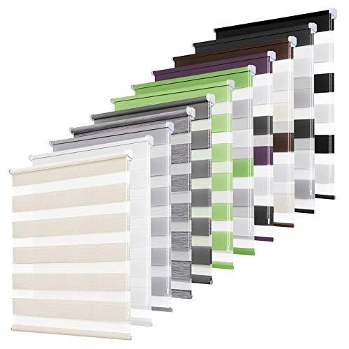 bobodeco Doppelrollo klemmfix ohne Bohren Duo Rollos für Fenster mit Klemmträger, Fensterrollo lichtdurchlässig & verdunkelnd Wandmontage Sichtschutz- Natur,50x150cm (BxH)