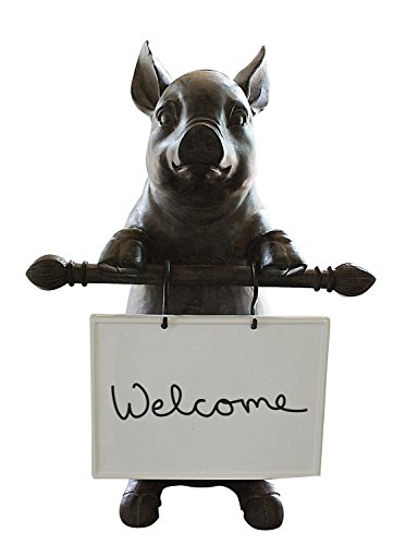 Creative Co-Op Resin Pig Holding Message Board