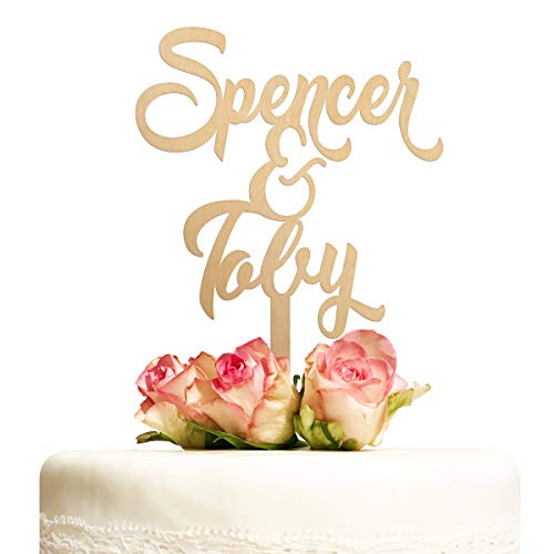 Cake Topper Hochzeit personalisiert Holz mit Namen Kuchentopper Vintage Hochzeitstorte Tortenaufsatz Tortendeko Deko Hochzeitsgeschenk