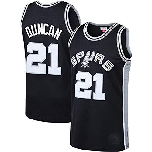 Gflyme Herren Trikot NBA Tim Duncan - San Antonio Spurs # 21 Retro Jahrgang, Basketball Jersey Jersey Weste, bestickte Swinger, Sportswear (Color : Black, Size : L)