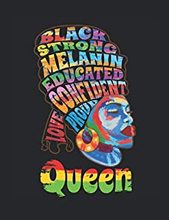 """Black Queen Dashiki Melanin African American Pride: College Ruled Notebook Paper and Diary to Write In / 120 Pages / 8.5""""x11"""""""