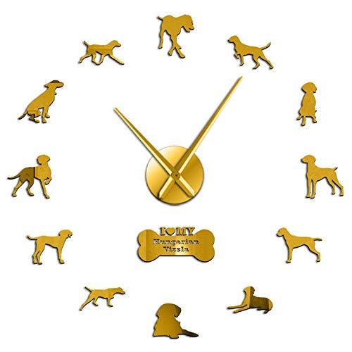 ASDFG DIY wandklok spiegel wandsticker oppervlak klok voor huisdieren 3D klok Beagle voor hondenliefhebbers in huis en tuin