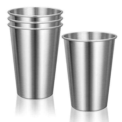 LELE LIFE 4 Vasos de Acero Inoxidable de Primera Calidad, Apilables Vasos de Metal, Copas de Metal Tumbler, Taza de Acero Inoxidable Inastillables para Niños y Adultos, 12oz 350ml, Plateado